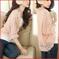 2014 women fashion Sweaster Crochet Knit Top Shawl Batwing Sleeve Hollow Out Cardigan Sweater Knitwear