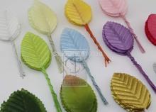 Envío libre Nuevo llegado 200pcs hojas artificiales flor hojas de alta simulación hojas media de nylon decoración del partido de la flor(China (Mainland))
