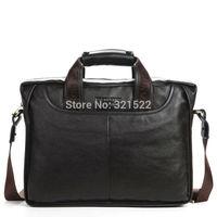 "100% GENUINE LEATHER cowhide Shoulder leisure men's bag business messenger portable briefcase Laptop large Purse 14"" Handbag"