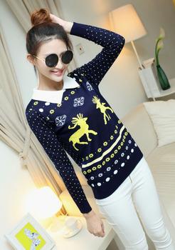 Горячая распродажа женщины новинка 2015 новый год олень вышивка свитер, рождественская елка polkda точка женщина свитер зима пуловер CYK514
