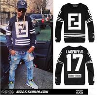 Autumn & Spring 2014 brand Hip-hop men's long sleeve pullover man clothing skateboard casual big F 3D print sweatshirt outerwear