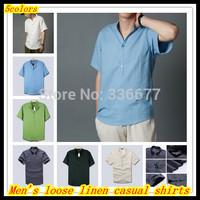 Free shipping Summer Men's Hot sale Short sleeve Breathable linen/cotton casual shirts Camisetas de hombre QR-1431