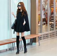 Fashion preppy style Womens Black Batwing Cape Wool Poncho Jacket Winter Warm Cloak Coat 2014 casual cute autumn desigual coat