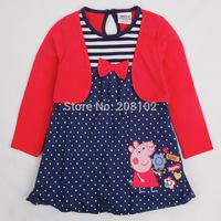 2014 2T-6T Fashion Girls Autumn Long Sleeve Dress Peppa Pig Cartoon Kids Cotton Casual Dresses Party Costume Wear