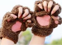 winter Fahion cartoon Women warm  button half refers to warm the knitting gloves  winter mittens women  velvet Mittens