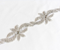 free shipping 1yard 6cm flower-shape beaded clear crystal rhinestone applique long trims boutique hotfix costume sewing material