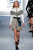 Free  Shipping ! 2014 Winter Autumn Catwalk Long-sleeved Zipper T-shirt + Pocket Skirt Printing Twinset With Belt