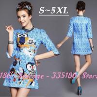 S-5XL High-quality Brand Ladies Blue Cartoon Owl Print Half Sleeve Jacquard Dress 2014 Autumn Plus Size Women Clothing G182