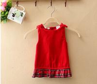 Autumn 2014 New Arrival Summer Girl's Dress Cotton Children's Vest Skirt KIds Sleeveless Dress Spot