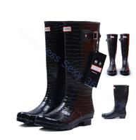 2014 New Waterproof Crocodile Pattern Women Rain boots Leather women water shoes Leopard print Winter Autumn Wellies Rainboots