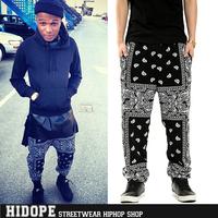 Free Shipping Hot Sale 2014 Cease Desist West Cost Bandana Pants Heybig Hip Hop Pants Paisley Harem Pants Men Wholesale