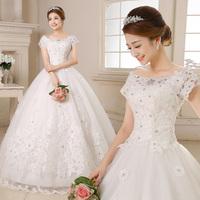 Angel bride wedding dress new 2014 band together to a word shoulder skirt bride Princess Wedding Dresses