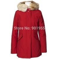 2014 new Womens brand Woolrich Artie Parka female Winter Down Jackets warmth large fur collar hat slim long Thicken down Coat