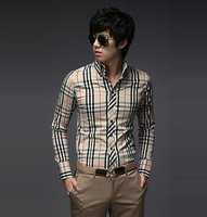 Free shipping 2014 new spring style men's casual long plaid t-shirt Personality handsome casual long sleeved t-shirt MT0243