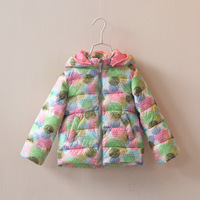 2014 autumn and winter girls clothing child multicolour polka dot zipper thickening cotton-padded jacket wadded jacket outerwear
