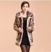 FREE SHIPPING 2014 New arrival mother elegant slim mink  fur coat Winter women's mink coat Plus size 3xl 4xl 5xl