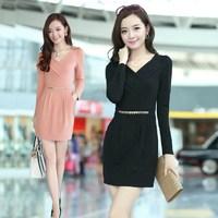 2014 autumn long-sleeve V-neck elegant slim dress ol slim hip plus size one-piece dress female
