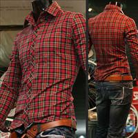 2014 new Autumn hot fashion Plaid Cotton Plaid shirt  Business casual personality long sleeved short 4 colors M~2XL  MT0239