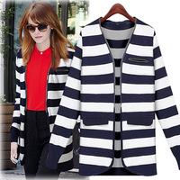 Europe women 2014 Hitz Euramerican big yards long sleeved striped knit cardigan sweater shirt jacket