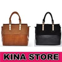 2 Colors Free shipping Women Big Brand Vintage Soft Genuine Leather Solid Sequined Shoulder Bags Large shoulder bag