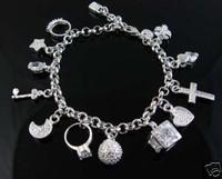 925 silver bracelet 13 girls hanging pendant charming silver bracelet 7.5 inches