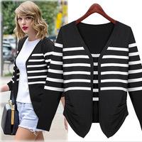 Europe women 2014 Hitz fashion long sleeved striped knit shirt sweater cardigan jacket