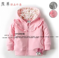 Baby Coat New 2014 Spring autumn baby clothing girls outerwear casual sweet hooded kids jackets and coats bow hoodies cardigan