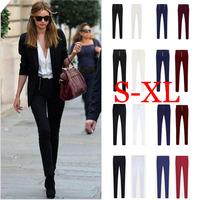 S-XL Plus Size Pants 2014 New Women Pant Slim zipper/Button Pants Victoria Style High Waist Pants Pencil Trousers 16 Styles S46