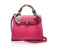 Free Shipping 2014 New Arrival Fashion Candy Color Pu Leather Women Tote Bag with Scarf and Metal Lock Shoulder Bag