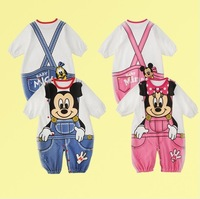 New 2014 summer Children's clothing baby clothes cartoon style kids pajama set kids clothes mickey  minnie baby romper 3sets/lot