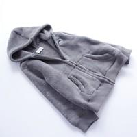 New! Korea Velour Children Girls Boys Hoodies Grey Baby Kids Girls Boys Outwear Jacket Sweatshirts Free Shipping