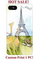 best quality giraffe cartoon animal Eiffel tower design pattern print 5 5S 5C 4 4S  cover for iphone 5S case giraffe print