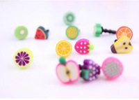 10pcs/lot Fashion 3.5mm korea cartoon fruit earphone dust plug mobile phone dust stopper for iphone and 3.5mm plug mobile phone