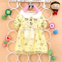 Free shipping 2014 new autumn spring children clothing girlsflower dress long-sleeve baby kids clothes girls princess dress