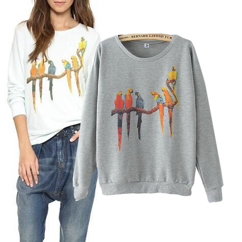 nova outono e inverno na europa e américa papagaio colorido impresso redonda pescoço camisola casual manga da camisa t- camisa feminina cabeça(China (Mainland))
