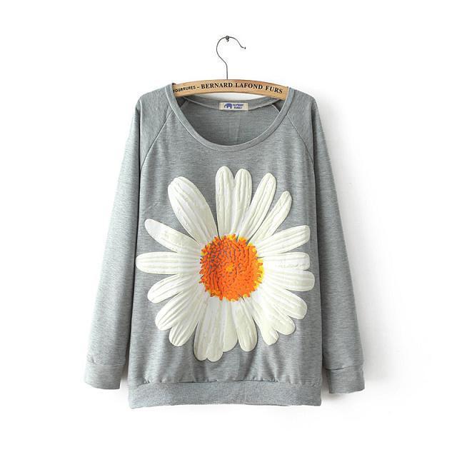 2014 novo outono e inverno na europa e américa ventilador sunflowerscasual selvagem camisa camiseta blusas(China (Mainland))
