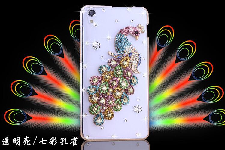 For lenovo, bling bling handmade fashion luxury 3 D peacock bird diamond hard cell phone case for lenovo S850 free shiiping(China (Mainland))