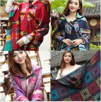 High Quality Fashion Style Wool Acrylic Plaid Poncho Scarf Women Thick Winter Keep Warm 200x80cm 0.5KG Free Shipping