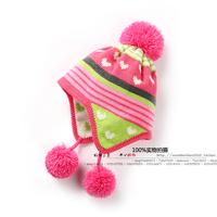 new 2014 autumn winter baby hats children accessories girls knitted hats kids Lovely striped ear cap hat female child warm hat
