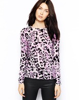 women Sweater  Light purple leopard print knit sweater round neck sweater hedging