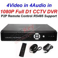 4CH 1080P HDMI Full D1 CCTV DVR p2p teach remote control 4CH video in 4ch audio in video recording cctv dvr with rs485 port