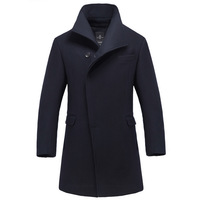 Men in long woolen paragraph woolen coat jacket collar wool jacket 68018 male business man