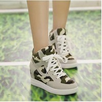 2014 New European Rome Boots Round Head Slope With Camo Canvas Shoes Lace Up Boot Increased Inside Autumn Winter Casual Shoes
