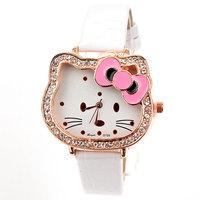 cute women rhinestone bowknot watches reloj de piel fashion hello kitty watch Free Shipping Drop Shipping