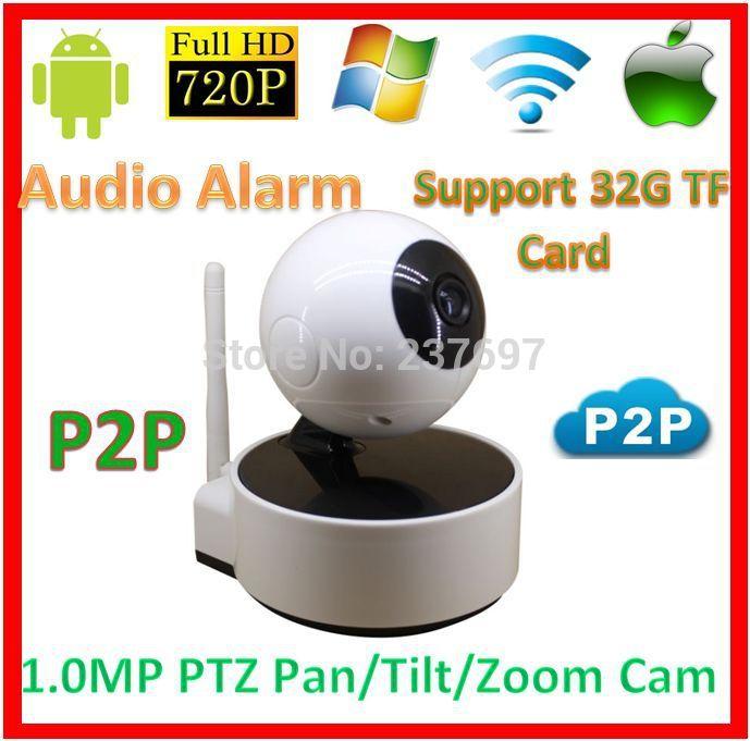 Protection 720p wifi p2p PTZ IP Baby Moniter Kamera CCTV SD TF Card Audio Alarm Wireless1.0MegaPixel Network Phone View WebCam(China (Mainland))