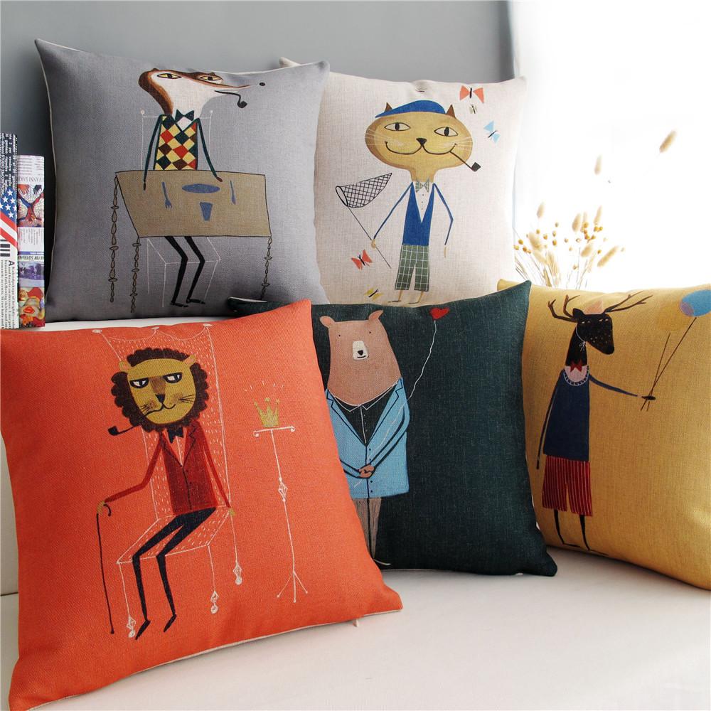 Frete grátis / individualidade criativa dos desenhos animados fronhas de algodão 45 * 45(China (Mainland))
