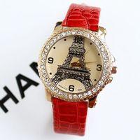 2013 Watches Women Fashion Luxury Brand Tower Diamond Leather Wristwatch Free Shipping