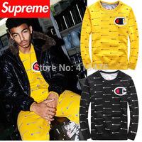 2014 brand supreme champions PULLOVER men's Long sleeve Outerwear flocking logo hoodie cotton Fleece Sweatshirt new york