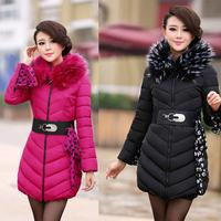 2014 winter fashion slim large fur collar cotton-padded jacket female medium-long wadded jacket women's down cotton-padded