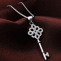 Brand Jewelry Women's White Sapphire CZ Crystal Stone 925 Sterling Silver Cross Key Pendant Necklace